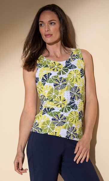 Printed Sleeveless Textured Top Lime/Navy