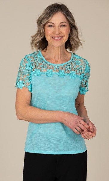 Anna Rose Short Sleeve Lace Trim Top Aqua - Gallery Image 1