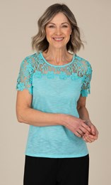 Anna Rose Short Sleeve Lace Trim Top