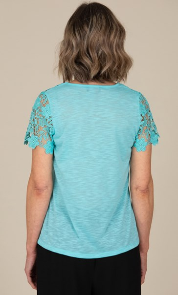 Anna Rose Short Sleeve Lace Trim Top Aqua - Gallery Image 2