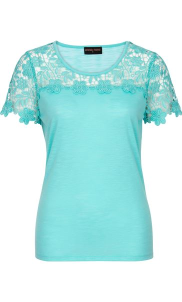 Anna Rose Short Sleeve Lace Trim Top Aqua - Gallery Image 3