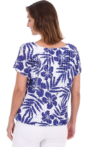 Printed Textured Short Sleeve Jersey Top