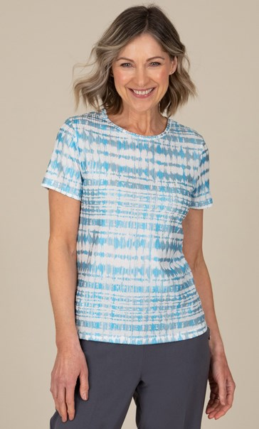 Anna Rose Textured Short Sleeve Top Blue