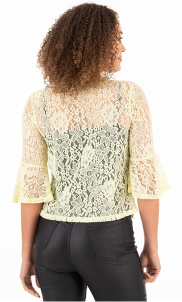 Three Quarter Sleeve Lace Cover Up Soft Lemon - Gallery Image 2