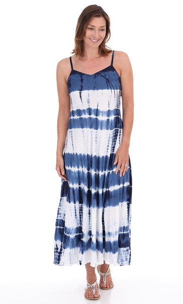 Bias Cut Tie Dye Maxi Dress Navy/White