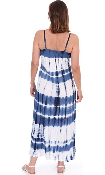 Bias Cut Tie Dye Maxi Dress Navy/White - Gallery Image 2