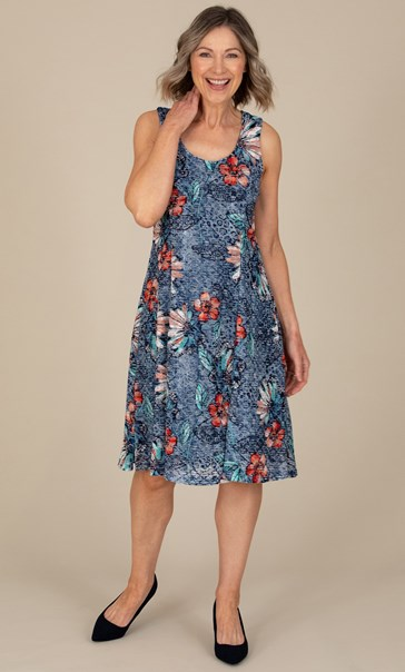 Anna Rose Textured Sleeveless Dress Blue/Orange/Multi - Gallery Image 1