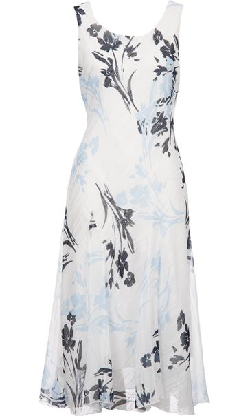 Anna Rose Printed Bias Cut Midi Dress Ivory/Blue/Grey - Gallery Image 3