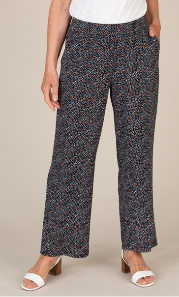 Anna Rose Wide Leg Printed Jersey Trousers Black/Coral - Gallery Image 3