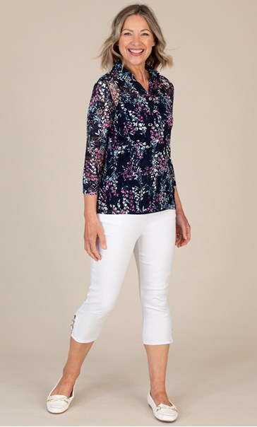 Anna Rose Printed Lace Blouse Navy/Pink Multi