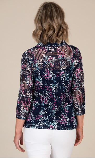 Anna Rose Printed Lace Blouse Navy/Pink Multi - Gallery Image 3