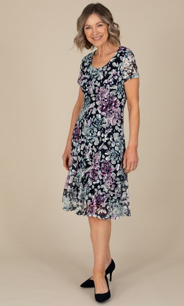 Anna Rose Printed Textured dress Navy/Pink Multi