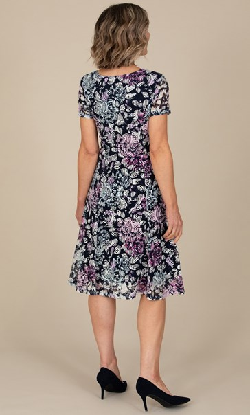 Anna Rose Printed Textured dress Navy/Pink Multi - Gallery Image 2