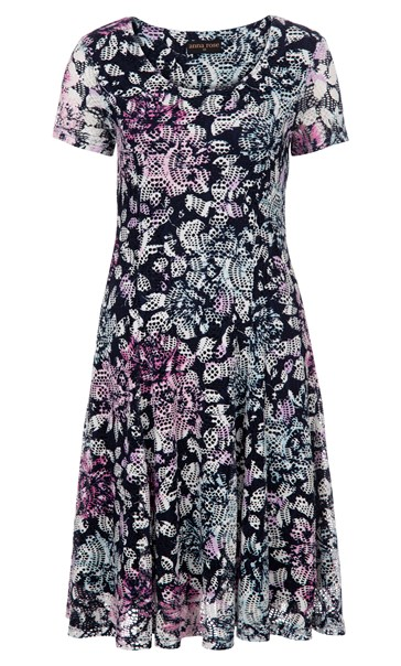 Anna Rose Printed Textured dress Navy/Pink Multi - Gallery Image 3