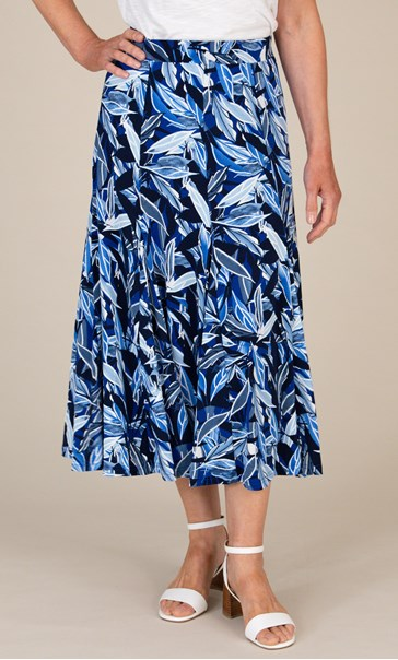Anna Rose Floral Printed Skirt Blue - Gallery Image 3
