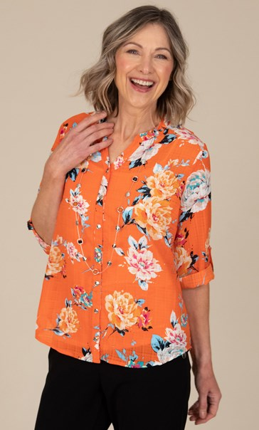 Anna Rose Floral Print Blouse With Necklace Orange Multi