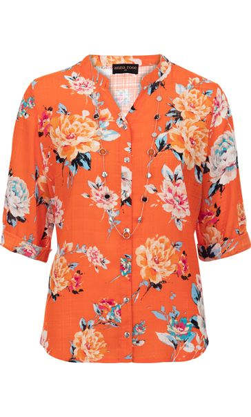 Anna Rose Floral Print Blouse With Necklace Orange Multi - Gallery Image 3