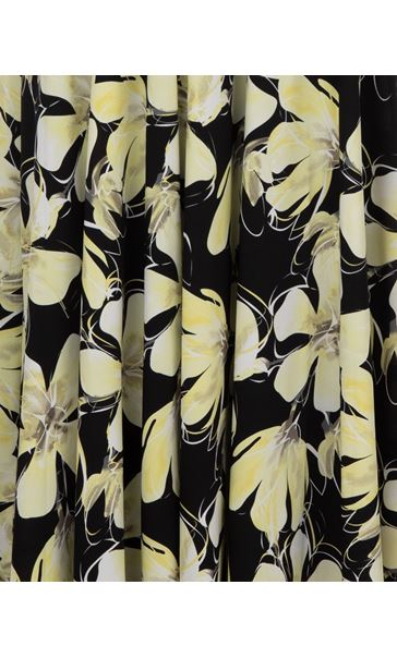 Floral Print Sleeveless Maxi Dress Black/Yellow - Gallery Image 3