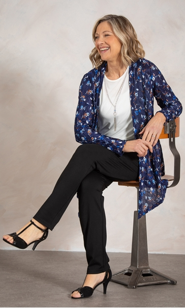 Anna Rose Patterned Two Piece Top Set Midnight/Blue/Orange