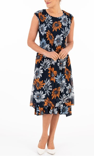 Printed Floral Chiffon Midi Dress Midnight/Orange/Blue