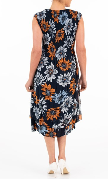Printed Floral Chiffon Midi Dress Midnight/Orange/Blue - Gallery Image 2