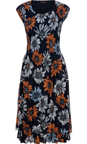 Printed Floral Chiffon Midi Dress Midnight/Orange/Blue - Gallery Image 3