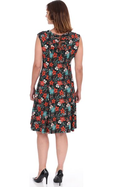Floral Printed Panelled Short Sleeve Jersey Dress
