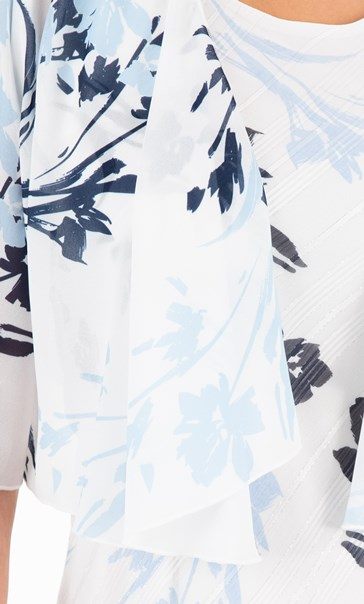 Anna Rose Printed Waterfall Cover Up Ivory/Blue/Grey - Gallery Image 3