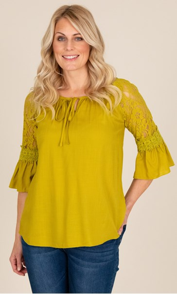 Three Quarter Sleeve Lace Trim Top Golden Olive