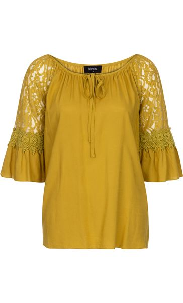 Three Quarter Sleeve Lace Trim Top Golden Olive - Gallery Image 3