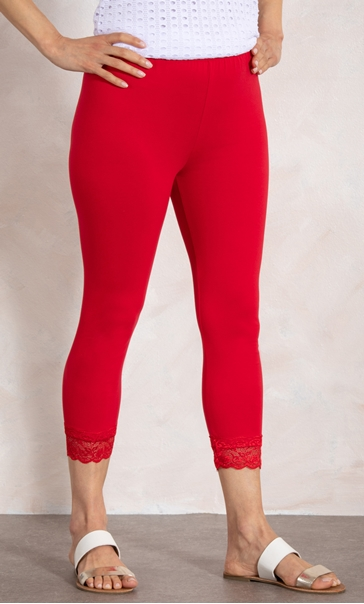 Cropped Lace Trim Leggings - Racing Red