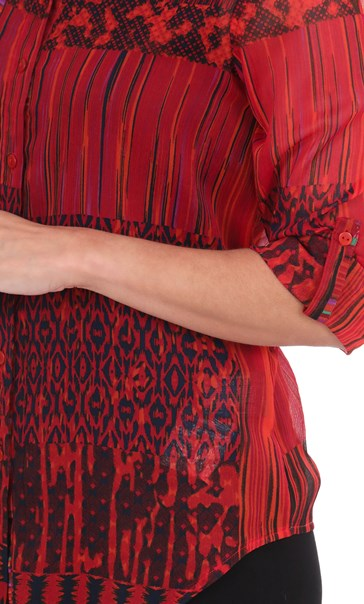Printed Chiffon Tie Front Blouse Reds - Gallery Image 3