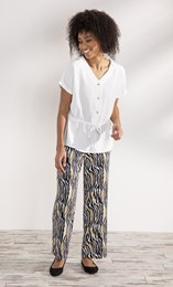 Printed Pull On Wide Leg Trousers