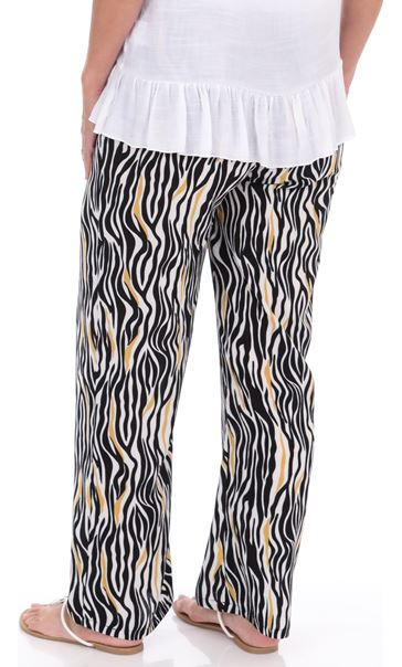 Printed Pull On Wide Leg Trousers Black/Mustard - Gallery Image 3