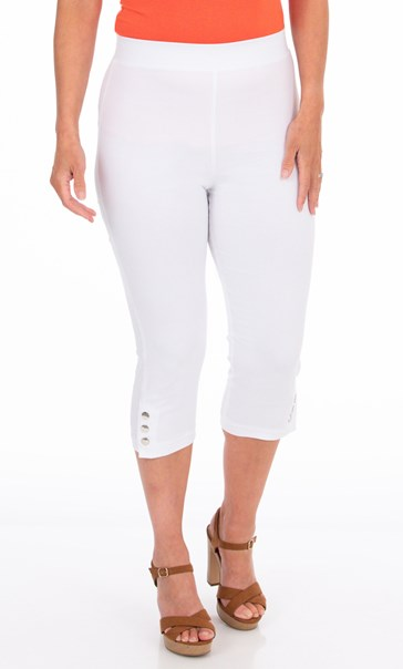 Cropped Pull On Stretch Trousers White