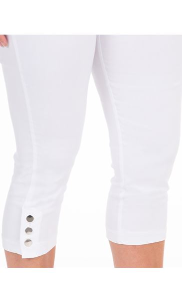 Cropped Pull On Stretch Trousers White - Gallery Image 3