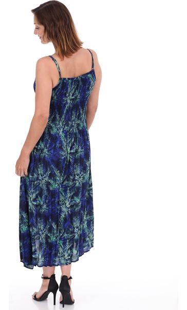 Multi Print Pleated Maxi Dress