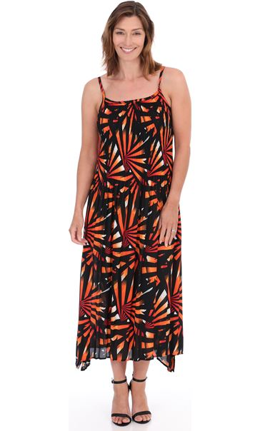 Stripe Print Pleated Maxi Dress Black/Red - Gallery Image 1
