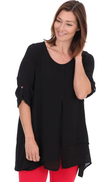 Asymetric Layed Split Hem Tunic - Black