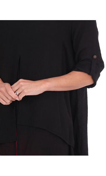 Layered Crinkle Tunic Black - Gallery Image 3