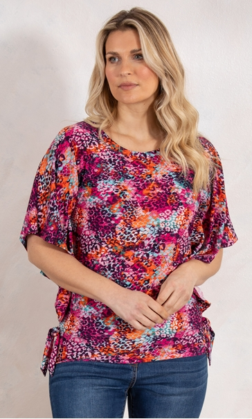 Multi Print Top With Side Ties Pinks - Gallery Image 1