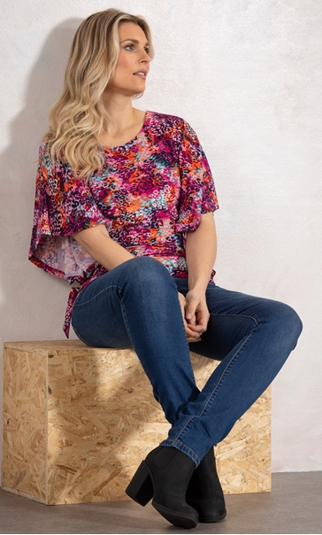 Multi Print Top With Side Ties Pinks - Gallery Image 2
