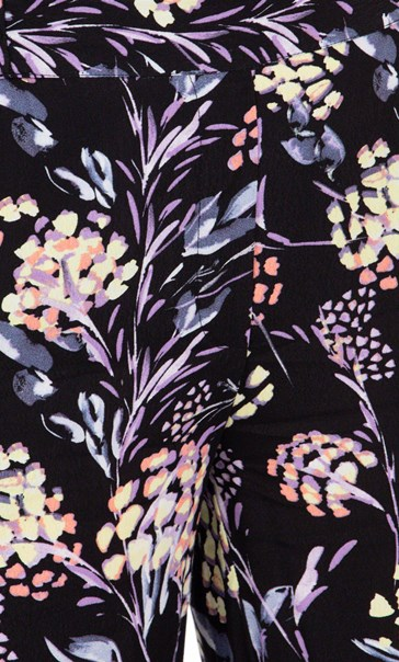 Floral Printed Pull On Trousers Black/Lilac/Yellow - Gallery Image 3