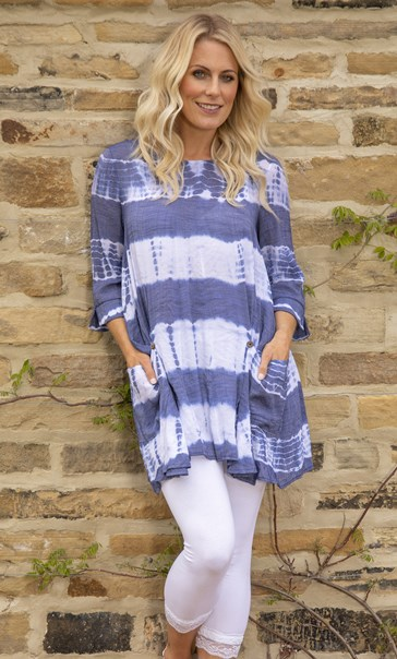 Tie Dye Tunic Royal Blue