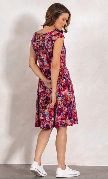 Short Sleeve Print Panel Jersey Dress Pinks - Gallery Image 3