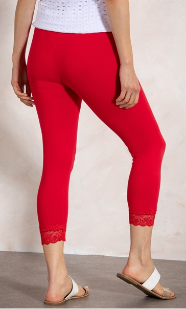 Cropped Lace Trim Leggings Racing Red - Gallery Image 3