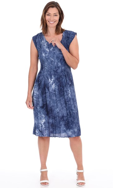 Sleeveless Pleated Tie Dye Midi Dress Royal Blue - Gallery Image 1