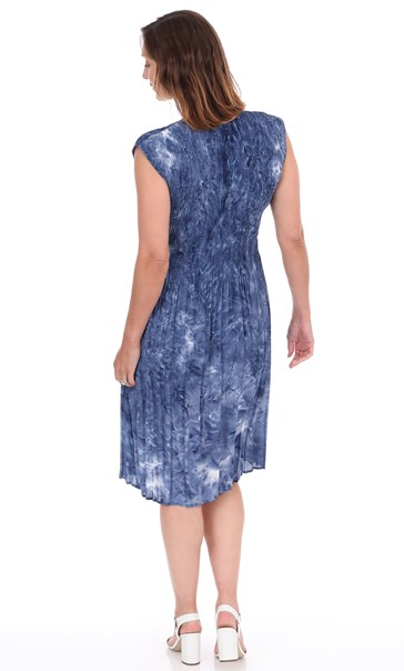 Sleeveless Pleated Tie Dye Midi Dress Royal Blue - Gallery Image 2