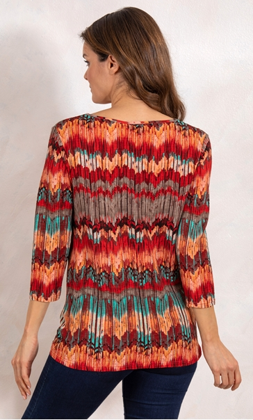 Loose Fit Tunic Orange/Chocolate/Teal - Gallery Image 3