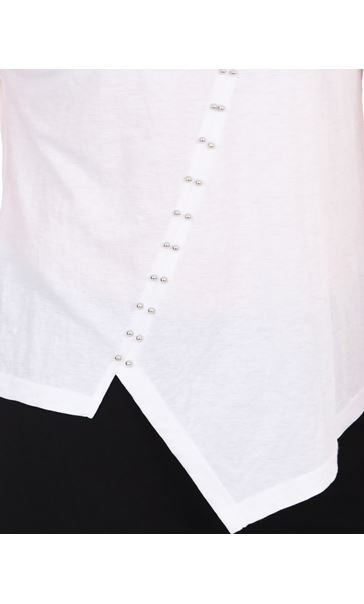 Short Sleeve Embellished Jersey Top White - Gallery Image 3